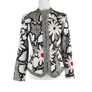 CHICO'S Ivory Black Red Lined Jacket Size Small